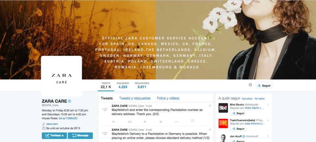 Twitter Zara Care