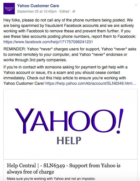 Yahoo Care Actualizaciones