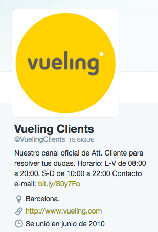 Twitter Vueling Clients
