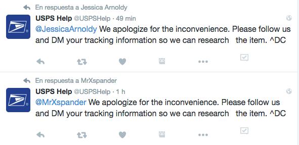 USPS Respuestas automatizadas