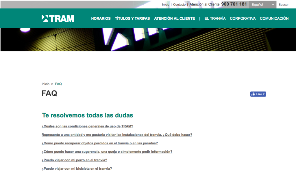 FAQ web TRAM