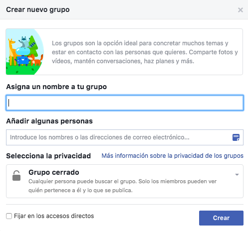 Crear un grupo de Facebook