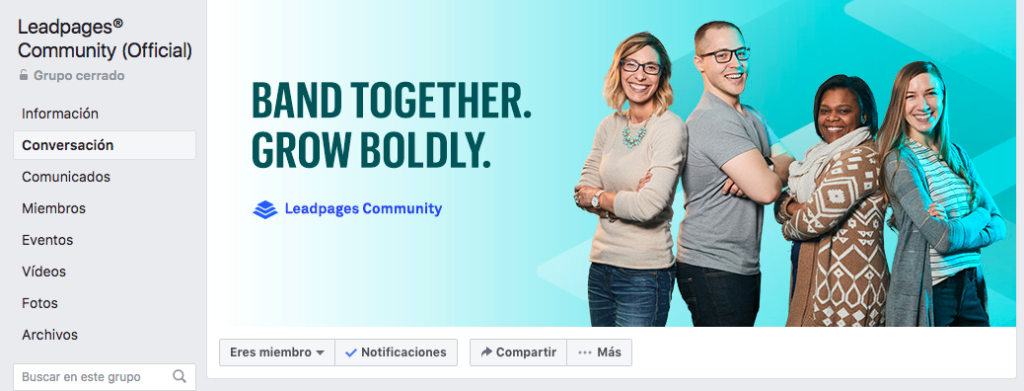 Grupo de facebook Leadpages