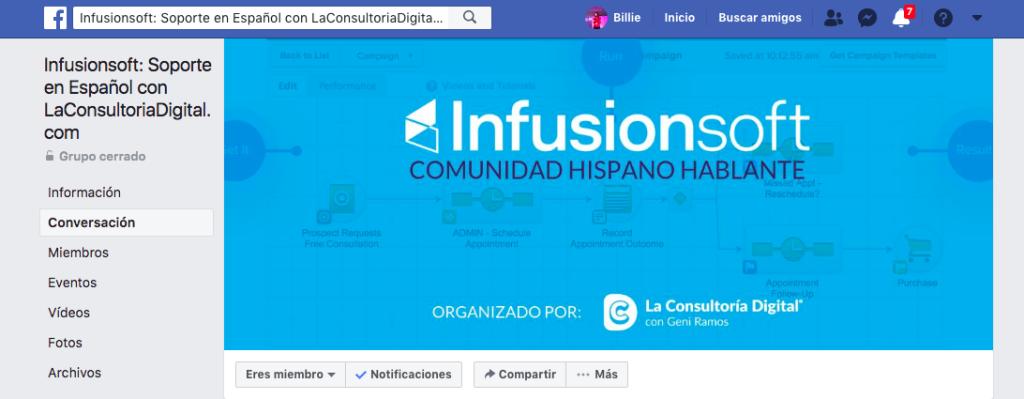 Grupos de facebook soporte Infusionsoft