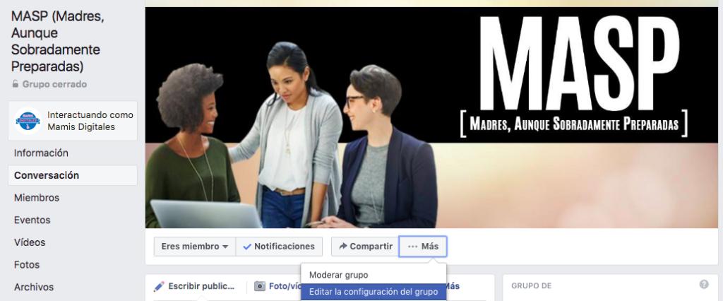 Grupos de facebook configuracion