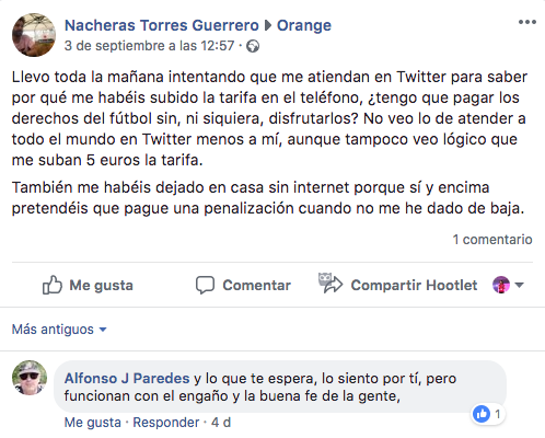 Orange queja Social Customer Service