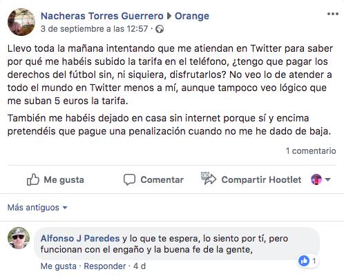 Orange queja Social Customer Service